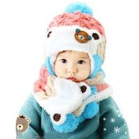 男女宝宝毛线帽子  儿童卡通护耳帽  围巾帽子2件套