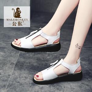 公猴夏季坡跟凉鞋女平底中跟女鞋韩版平跟学生女凉鞋休闲鞋子罗马
