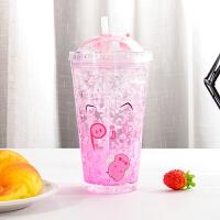 白领公社 玻璃杯 有盖带刻度儿童男女学生家用办公牛奶早餐杯透明耐热大容量350ml创意有把果汁杯子水杯水具