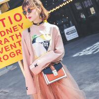 代代花枳包包2017新款手提包撞色小方包欧美时尚单肩斜跨链条小包
