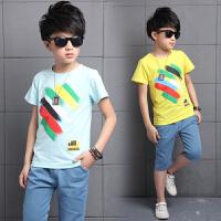 男童套装彩虹条夏季短袖纯棉休闲运动中大儿童韩版两件套2017新款