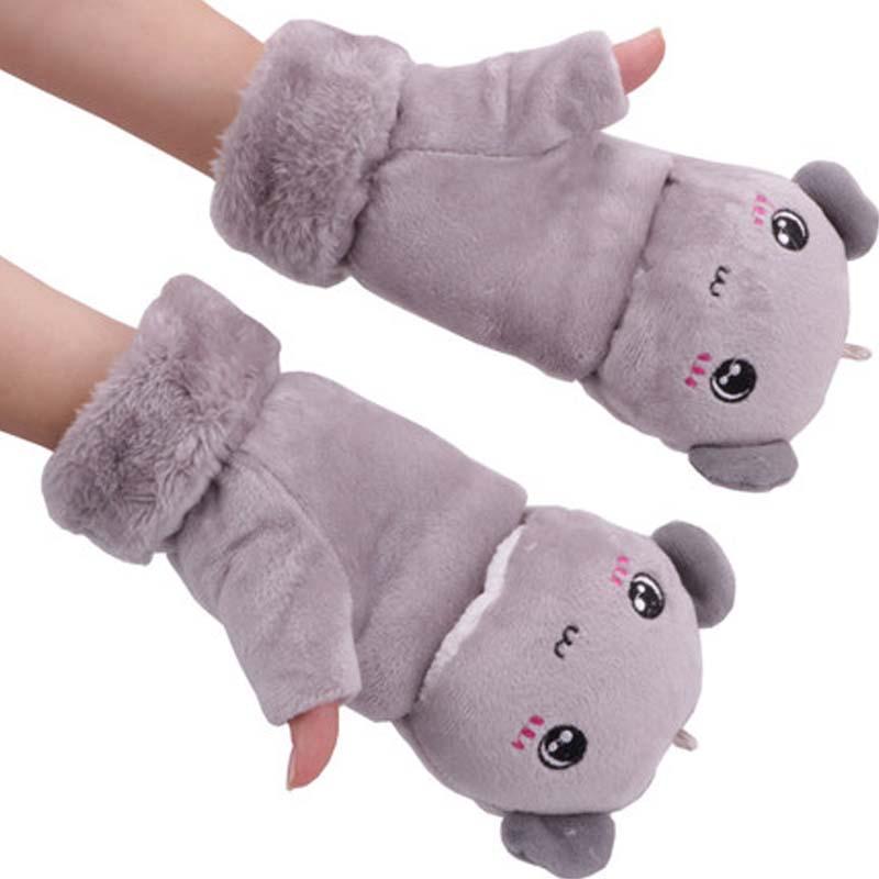 女冬季太阳花可爱猫爪手套 手套 男女厚手套_灰色-小熊手套,均码