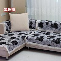 木儿家居 四季款防滑夏季沙发垫布艺坐垫沙发巾套罩黑玫瑰沙发垫