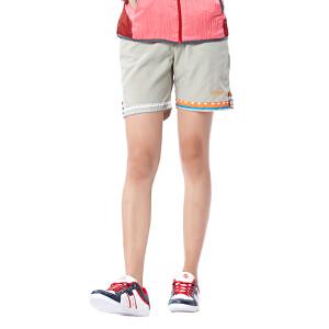 AIRTEX/亚特 透气弹力短裤 花纹包边女款速干三分裤 英国时尚户外
