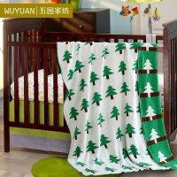 [WUYUAN]五园家纺 精梳全棉双面儿童针织毯  纯棉空调毯 棉线毯子 西瓜和松树