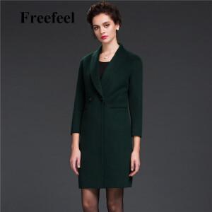 Freefeel2017新款春装羊绒大衣欧美风中长款时尚女装毛呢外套1691