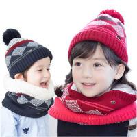 儿童2-6-8毛线加绒围脖 男童女童帽菱格 宝宝冬帽子围巾两件套