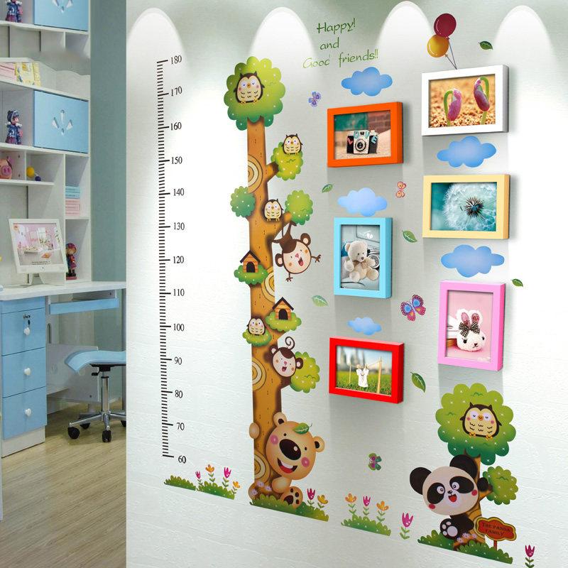 6框7寸幼儿园墙面装饰实木照片墙儿童创意组相框墙简约现代身高贴送