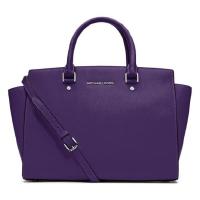 大号笑脸包 Michael Kors MK女士大号时尚经典手提单肩斜跨笑脸包30S3GLMS7L 紫色现货