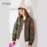 pass2017新款秋冬短款羽绒服宽松心形绣花拉链短外套韩版加厚潮