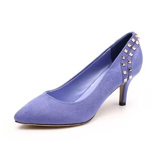 卓诗尼新款简约单鞋细跟高跟尖头浅口女鞋子