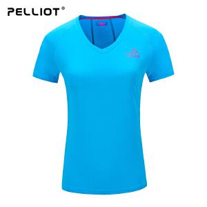 【折上再减】法国PELLIOT/速干t恤男女短袖 运动排汗快干速干衣 V领户外T恤