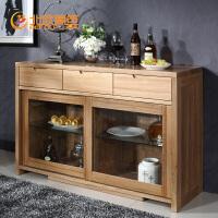 北欧篱笆 纯全实木餐边柜进口榆木餐厅家具带抽屉储物碗柜特价