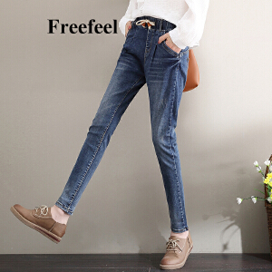 Freefeel2017秋冬新款牛仔裤女长裤韩版修身显瘦松紧腰细带铅笔裤