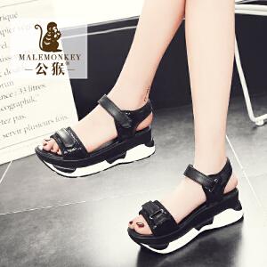 公猴夏季松糕凉鞋女韩版运动休闲女凉鞋厚底鞋子夏高跟女鞋凉拖鞋