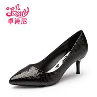 卓诗尼2016秋季新款欧美套脚高跟细跟尖头浅口单鞋女鞋