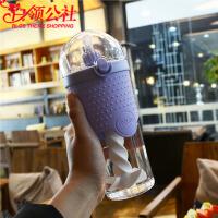 白领公社  塑料杯  男女学生创意吸管蛋白粉健身喝水杯吸管杯500ml杯子便携式单层塑料搅拌杯随手杯户外运动水杯水具