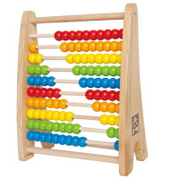 德国Hape彩虹珠算架 珠算算盘 儿童玩具100粒 宝宝益智早教