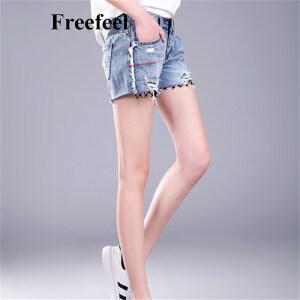 Freefeel 2017夏季新款韩版女装短裤百搭磨破自然腰直筒网纱边纯棉牛仔短裤
