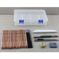 马可铅笔 8件套透明文具盒素描铅笔套装 炭笔橡皮美术绘画绘图工具套装