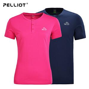 【618返场大促】法国PELLIOT户外快干衣男女 夏季短袖运动t恤薄款圆领吸湿透气T恤