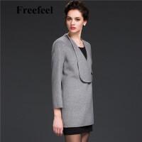 Freefeel2017新款春装羊绒大衣欧美风中长款时尚女装毛呢外套1689