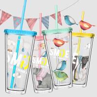 萌味 塑料杯 果汁吸管杯成人随手杯可爱学生创意带盖便携双层隔热水杯子