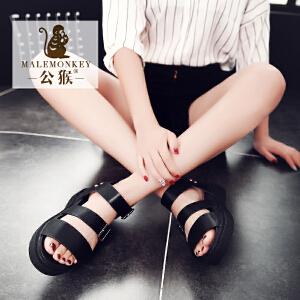 公猴【火热爆款】【罗马风 透气舒适内里】夏季平底凉鞋女真皮中跟休闲女鞋厚底马丁凉拖鞋平跟罗马凉鞋