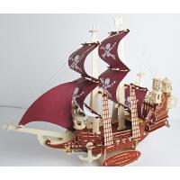 仿古小木船木质船模工艺品仿真手工帆船模型摆件大号装饰品海盗船