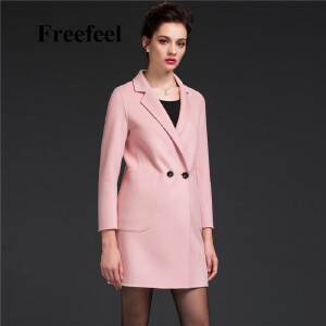 Freefeel2017新款春装羊绒大衣欧美风中长款时尚女装毛呢外套1686