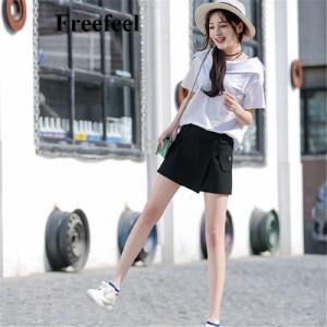 Freefeel2017夏季新款女装半身裙贴布自然腰纯色A型A字裙棉百搭短裙包臀裙