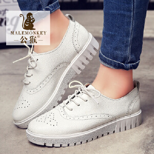 公猴春季新品韩版休闲女鞋真皮平跟牛津鞋小白鞋平底女单鞋板鞋542