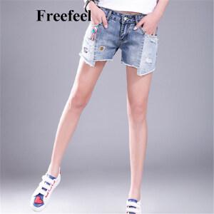 Freefeel 2017夏季新款韩版女装短裤百搭磨破自然腰直筒裤贴布纯棉牛仔短裤
