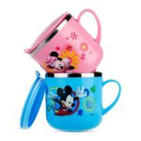 可爱卡通宝宝口杯  儿童水杯  带盖马克杯  手柄牛奶杯 不锈钢水杯