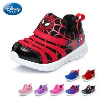 迪士尼Disney童鞋17冬季新款毛毛虫童鞋婴童学步鞋蜘蛛侠婴儿鞋短毛绒宝宝鞋 蓝色(0-4岁可选) DS2589