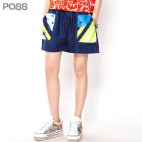 PASS潮牌夏装新款 牛仔色多口袋外穿微喇裤休闲小短裤女6622345006