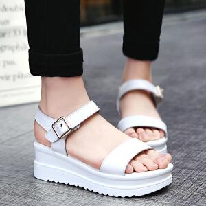 公猴2017新款坡跟凉鞋女夏松糕休闲罗马凉鞋真皮中跟厚底女凉鞋子