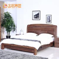 北欧篱笆北美纯黑胡桃木1.8米双人床全实木简约现代婚床卧室家具