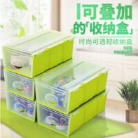 萌味 鞋盒 韩式塑料可视可叠加创意抽屉式塑料收纳盒鞋盒衣服储物柜收纳柜整理箱创意家居