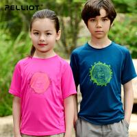 法国PELLIOT/伯希和  户外儿童速干t恤短袖  运动排汗快干速干衣 圆领T恤