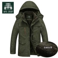 冬季AFS JEEP战地吉普男加绒中长款棉服加厚吉普大码棉服818