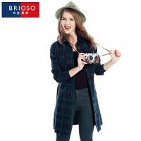 BRIOSO 2017春装新款格纹开身款连衣裙 欧美风全棉格子风衣外套 修身显瘦百搭裙子 WG58995