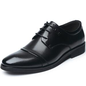 格罗堡春季新款男士新款英伦尖头商务休闲鞋正装鞋系带休闲皮鞋子