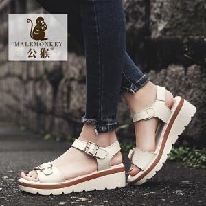 公猴夏季凉鞋女坡跟真皮平底休闲女鞋中跟松糕凉鞋学生厚底凉拖鞋