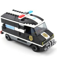 启蒙儿童积木玩具警车拼插塑料益智拼装积木运钞车模型 127