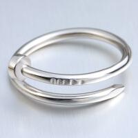 欧丁创意925纯银戒指情侣 时尚韩版个性钉子指环对戒活口简约螺丝礼物T