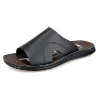 保罗堡夏季新款英伦真皮夹脚拖鞋男士休闲凉鞋沙滩鞋防滑平跟人字拖 HRD71607