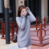 秋冬新款中长款竖条纹毛衣女 圆领套头甜美可外穿针织打底衫