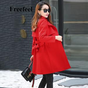 Freefeel2017秋冬新款毛呢大衣女装中长款修身显瘦系带外套1766