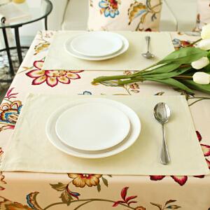乐唯仕餐垫欧式纯色米色餐桌布艺隔热防烫杯垫碗垫盘垫西餐垫